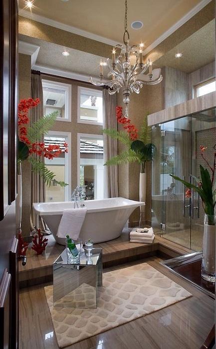 Если полезная площадь позволяет смотреть шире на пространство воспользуйтесь этим при обустройстве ванной.