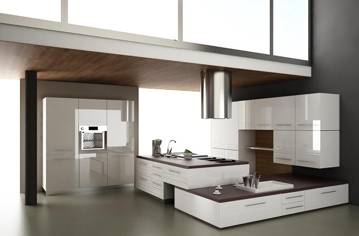 Современная кухня с мебелью в темных тонах.