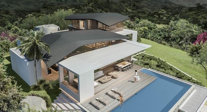 Крыша дома имитирует природные изгибы.