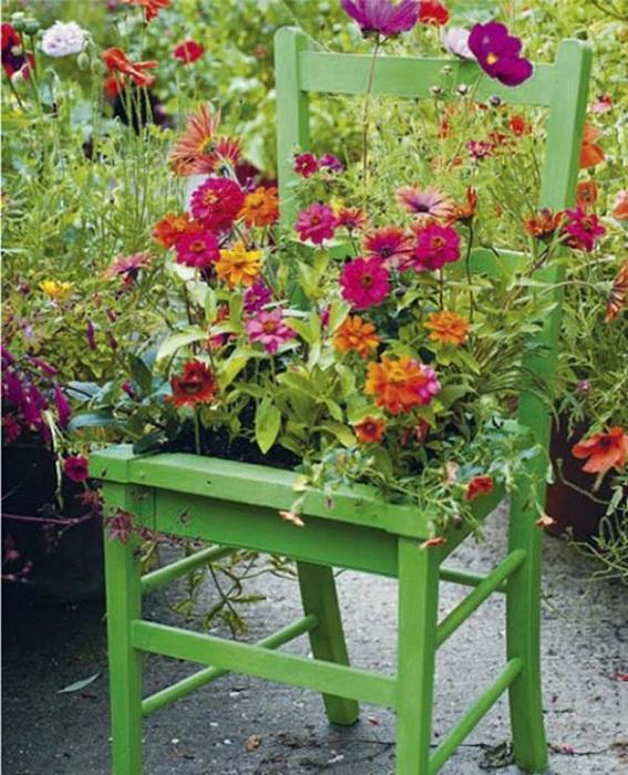 Горшочек для цветов разместился на стуле.