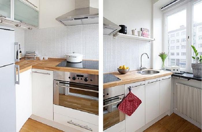 Обстановка на кухне максимально светлая и приятная, что добавляет очарования и приятных моментов в такой комнате.