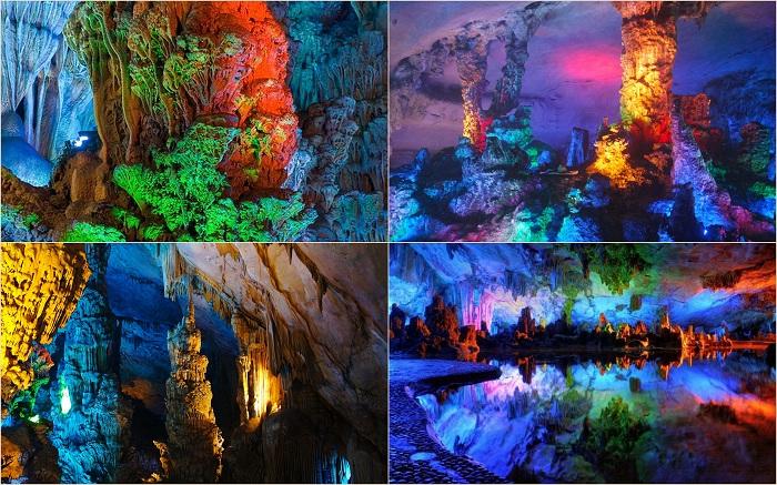 Тростниковую пещеру в Гуйлине называют природным дворцом. Все настолько шикарно и прекрасно здесь, что порой и не веришь в то, что такая красота возможна. Внутри пещеры реальность отходит на второй план, а красота и необыкновенность заставляют поверить в сказку и волшебство.