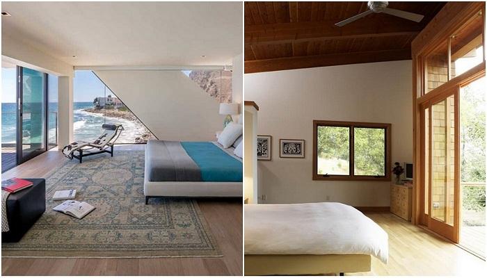 Раздвижные стеклянные двери в спальнях, просто находка.