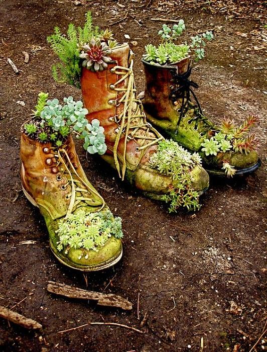 Возможно создать уникальные и необычные кашпо из старой и ненужной обуви, что позволит создать что-то необыкновенное.