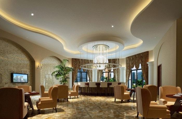 Красивые плавные изгибы потолка, это то что позволит создать просто оригинальное настроение и подарит только теплые впечатления.