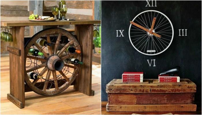 Прекрасные варианты использования колеса в домашнем декоре.