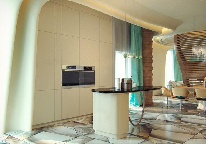 Ультрасовременная кухня в нежных тонах с отличным интерьером.