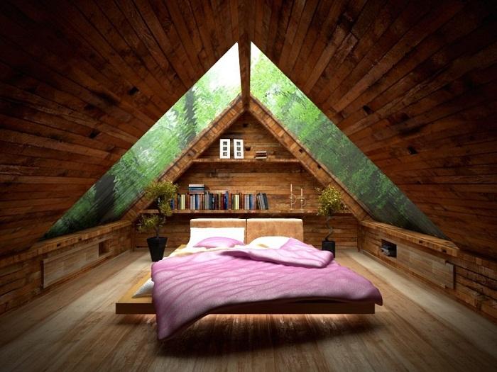 Интерьер спальной оформлен в дереве, что точно вдохновит на эксперименты.