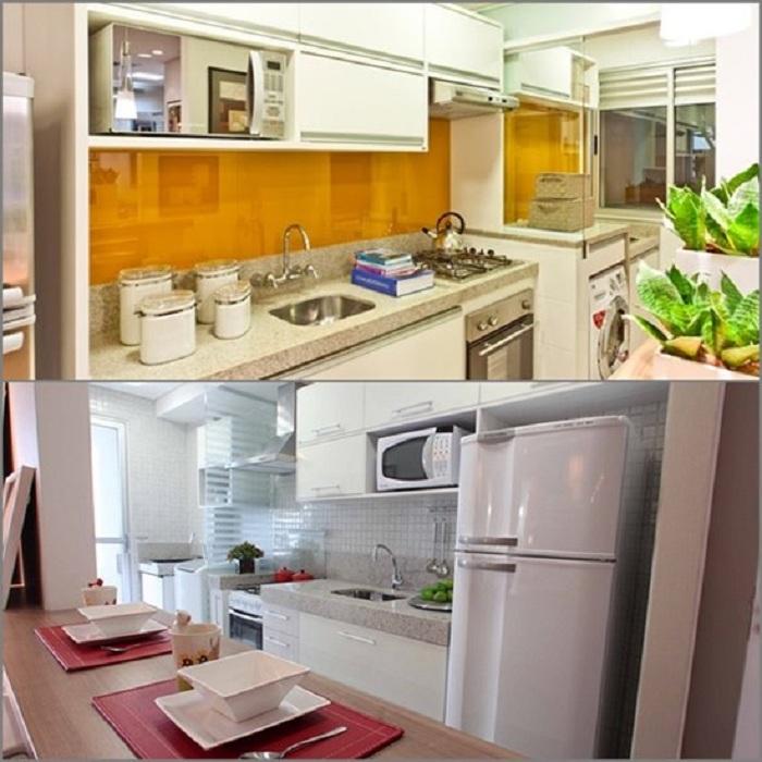 Симпатичные примеры декорирования мини-кухонь с яркими акцентами.