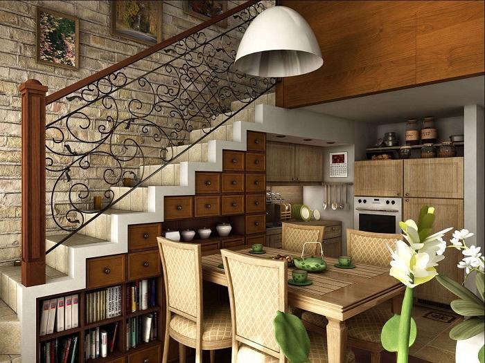 Оригинальное и оптимальное решение создать уютную обстановку за счет лестницы.
