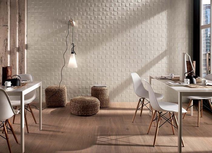 3D плитка на стене, подчеркнет индивидуальность стиля комнаты.