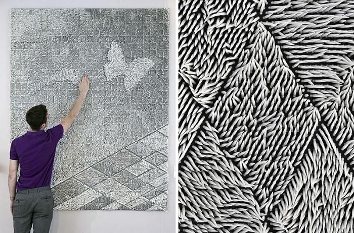 Шикарные текстильные обои, которые созданы их волокон ткани, которые возможно разглядеть.