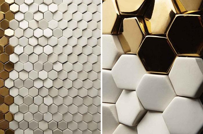 Отличный вариант декорировать стены шестиугольной плиткой, что создаст прекрасную атмосферу.