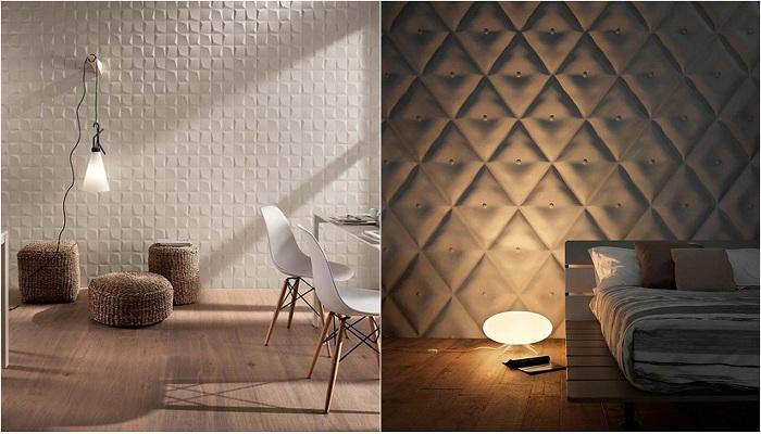 Примеры оформления декора комнаты при помощи 3D плитки.