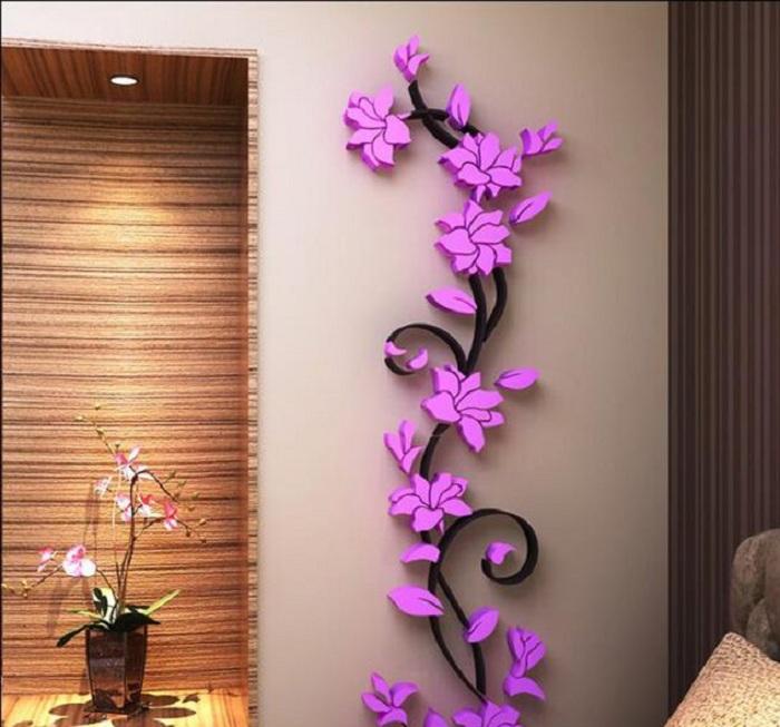 Яркие цветы на стене украсят и преобразят любой интерьер, что точно понравится.
