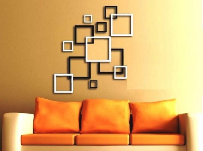 Интересные 3D наклейки в виде квадратов, украсят интерьер и создадут интересную обстановку.
