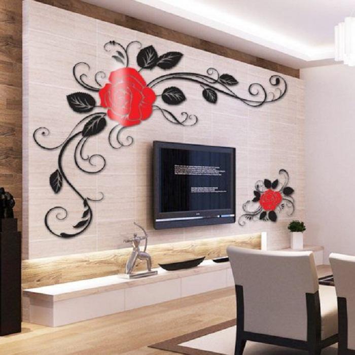Крутые решения для оформления стен в комнате декорированы при помощи креативных решений и 3D наклеек.