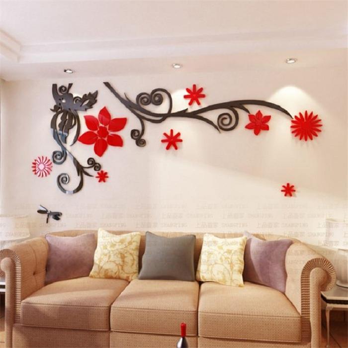 Один из самых оригинальных способов украсить стену в комнате 3D наклейками, очень простой способ преобразить интерьер.