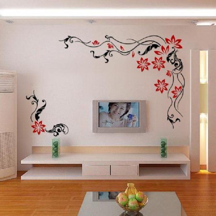 Отличное решение создать интересные рисунки на стенах в виде цветов, то что позволит максимально оптимально организовать пространство комнат.