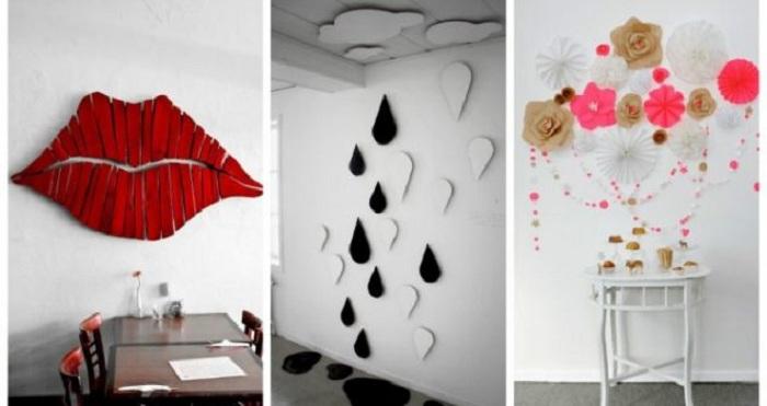 Интересное оформление стен красивыми 3D наклейками, которые станут просто отличным вариантом для декорирования комнат.