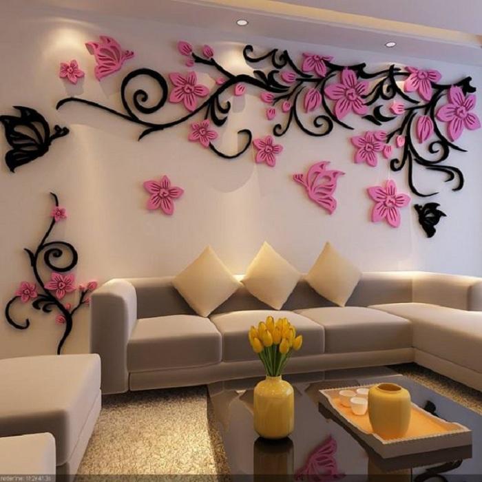 Оформление гостиной красивыми цветами в виде 3D наклеек, то что станет прекрасным дополнением к интерьеру.
