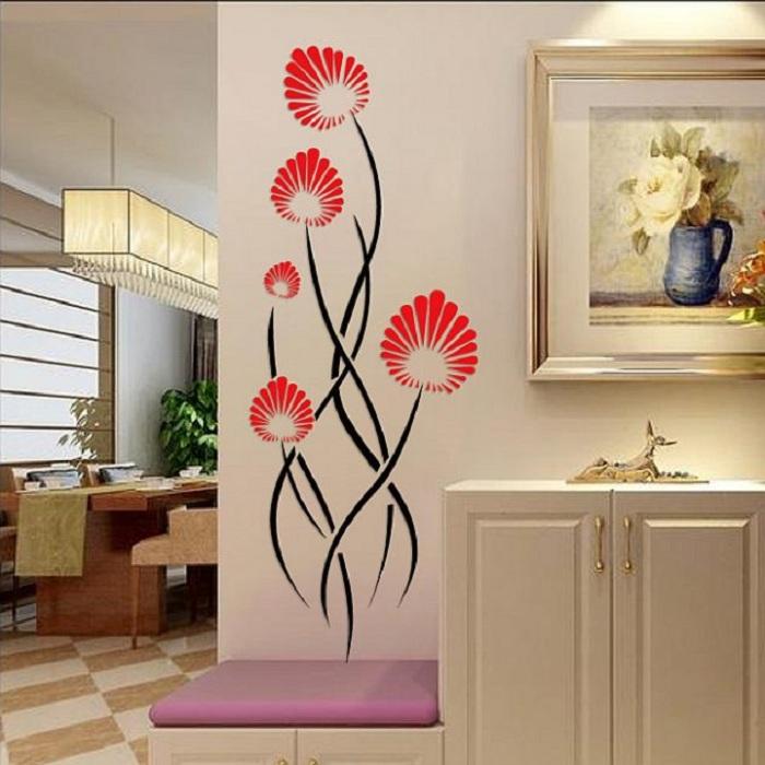 Интересные и необыкновенные цветы станут прекрасным вариантом в виде 3D наклеек, что украсит в свою очередь интерьер.