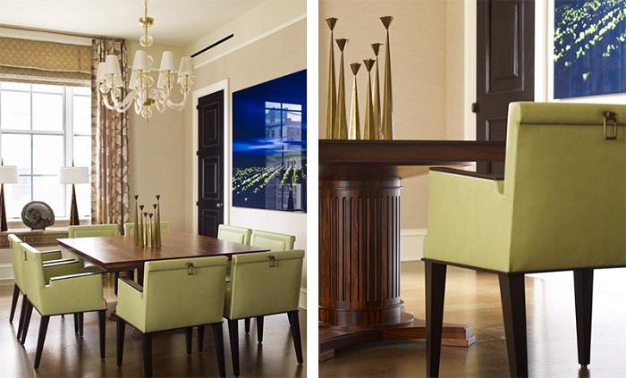 Простые линии в оформлении оливковых стульев сделали особенным интерьер обеденной зоны.