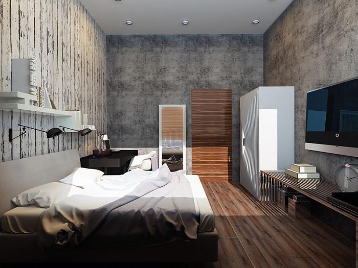 Хорошая спальня с большим количеством разной текстуры с использованием современной мебели.