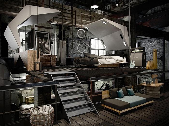 Чердак - это то место где расположилась эта спальня, с множеством интересных особенностей в своем оформлении.