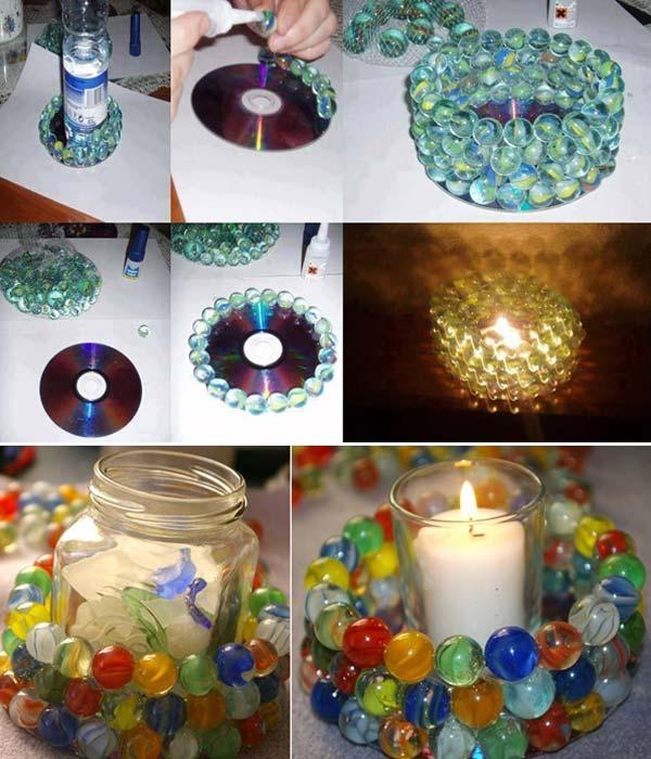 Интересные стеклянные цветные подсвечники, которые можно сделать своими руками.