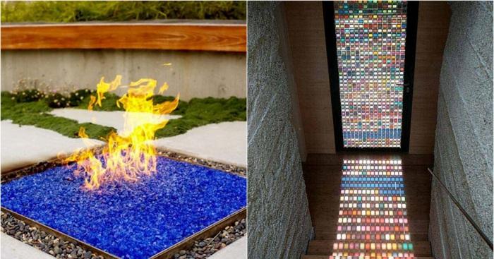Интересные варианты декора с применением цветного стекла.