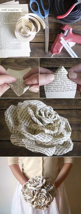 Красивый букет роз из страниц старых книг - отличное решение, которое вдохновит.