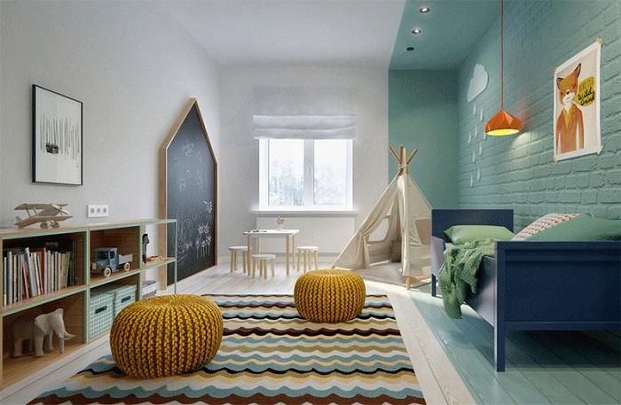 Спальня в современном дизайне, украшенная вигвамом.