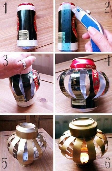Декорирование жестяной банки в домашних условиях позволит создать отличный светильник.