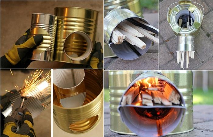 Удобная мини-плита для пеших прогулок из жестяных банок интересная вещица, которую можно создать собственноручно.