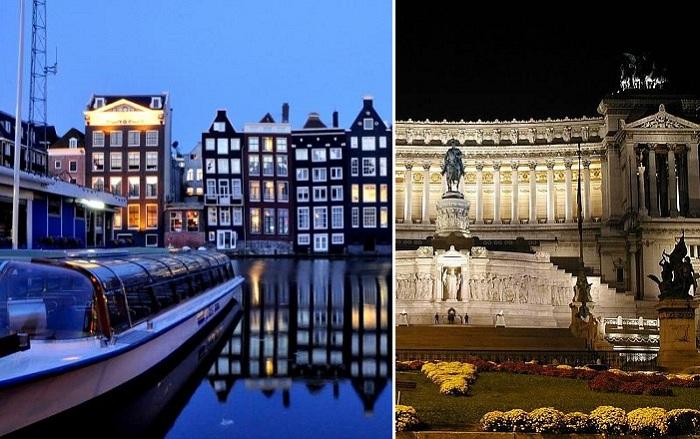 Ночные виды европейских мегаполисов.