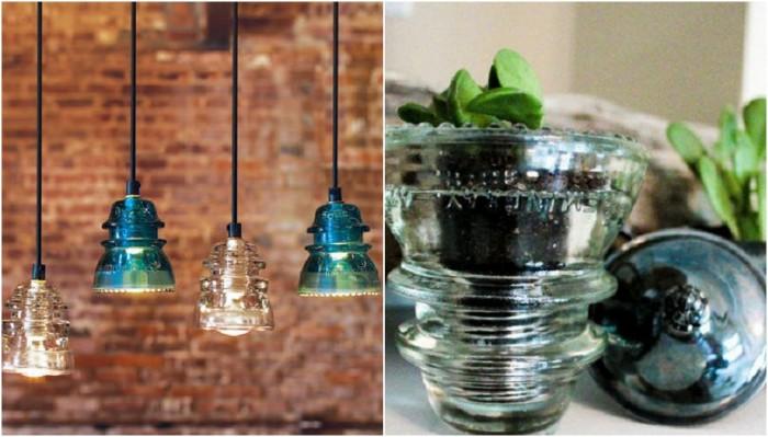 Примеры предметов, которые украсят интерьер из стеклянных изоляторов.