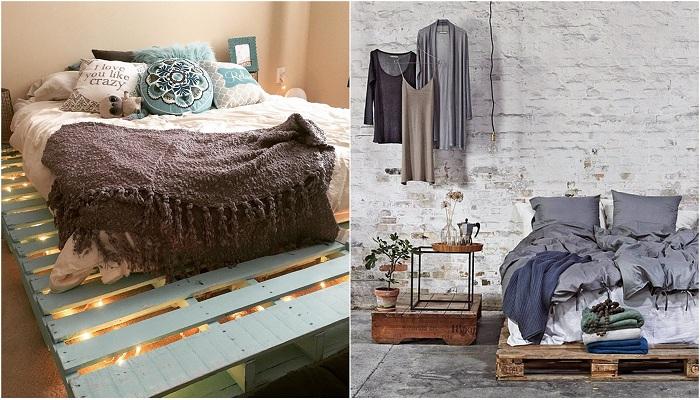 Интересные идеи оформления кроватей из паллет.