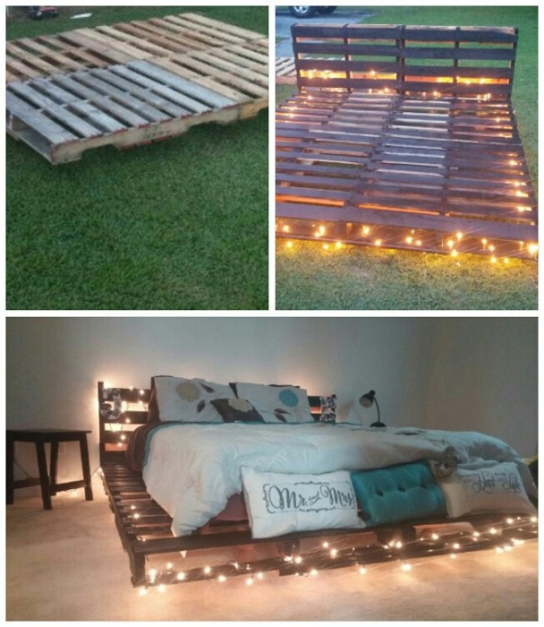 Интересное оформление кровати на паллетах с яркой и теплой подсветкой.