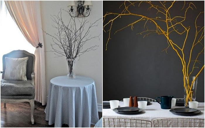 Букет из веточек — отличный вариант для декора стола.