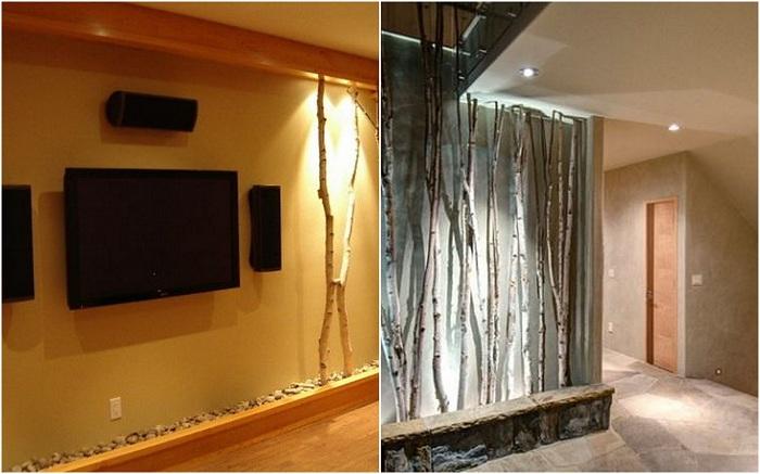 Оформление стен комнаты ветками, может в корне изменить обстановку.