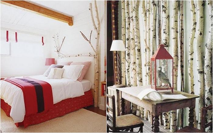 Креативное украшение стен комнаты ветками, которые отлично освежат интерьер.