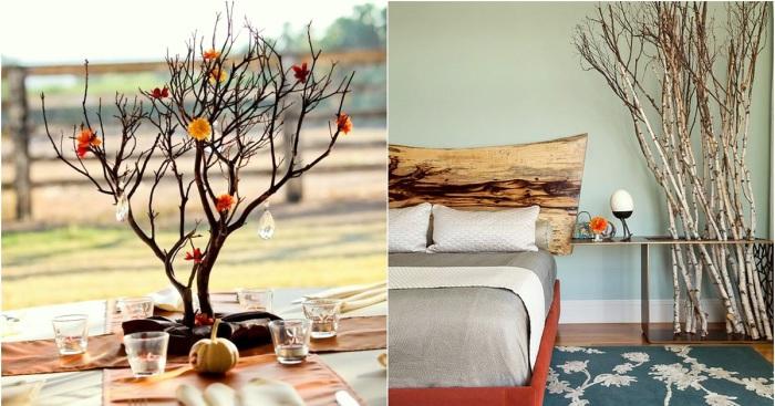 Декор из веток деревьев для оформления интерьера.