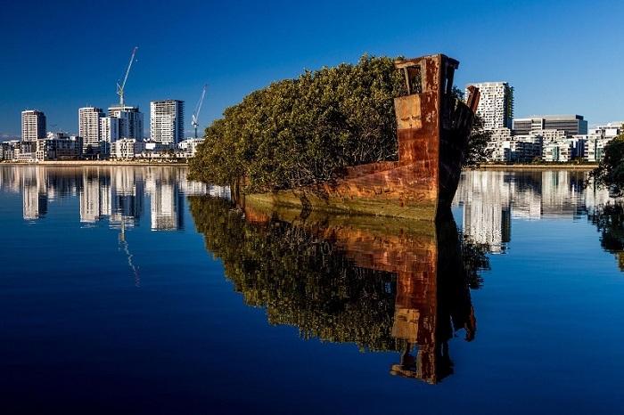Был построен в 1911 году, в отставку вышел в 1972. Это уникальное заброшенное судно на котором растут деревья и зелень.
