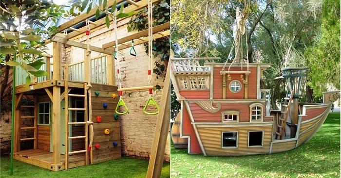 Интересные идеи деревянных домиков для двора.