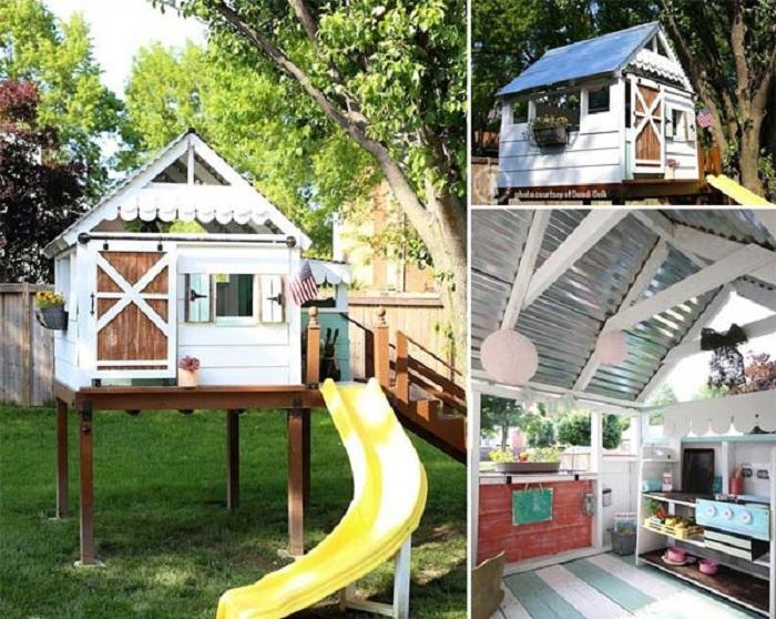 Прекрасное решение создать домик на определенной высоте - не только украсит двор, но и облагородит его.