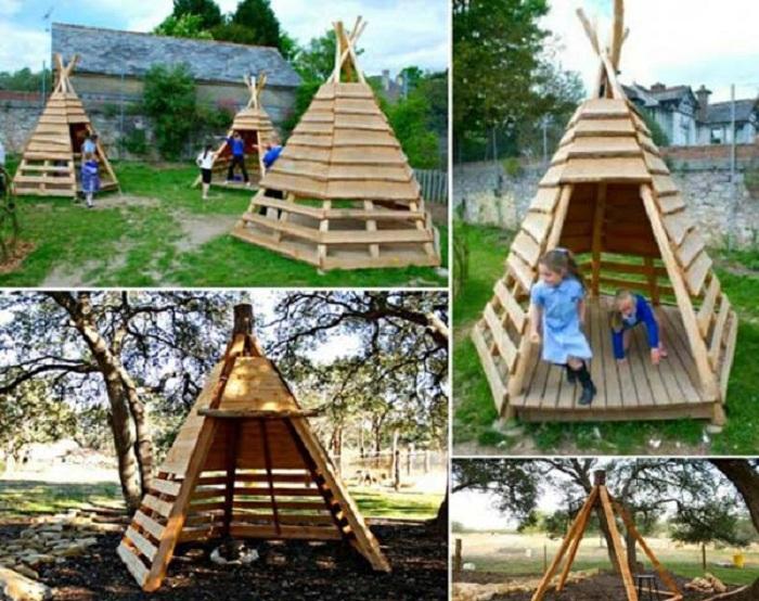 Симпатичный деревянный вигвам украсит любой двор и создаст интересную атмосферу в нем.
