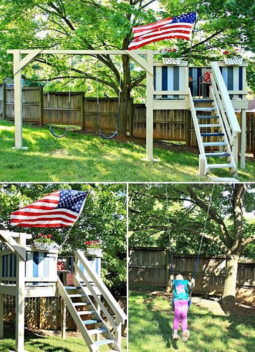 Симпатичный дом выполнен из дерева - отличное решение для оптимизации зоны для игр.
