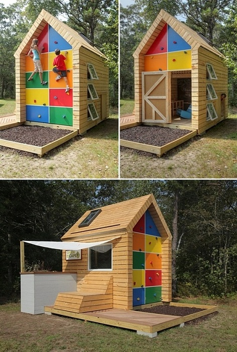 Яркие квадраты украсили детский домик дл игр и создали отличную атмосферу во дворе.