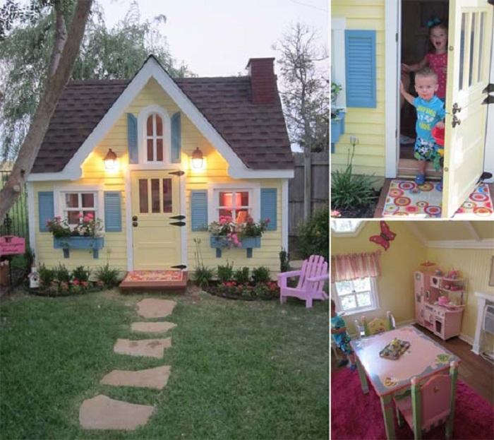 Отличное решение для двора - постройка небольшого домика для детей в котором они смогут играть.